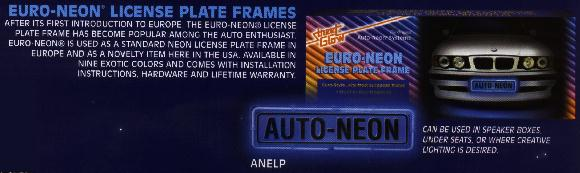 Euro Neon License Plate Frame